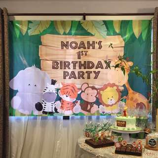 "Safari Theme ""Noah's 1st Birthday Party"" Backdrop"