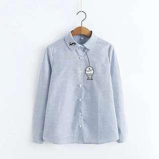 2018 Spring New Women's Japanese Retro Fishing Embroidered Stripe Shirt Women Wild Thin Student Bottoming shirt