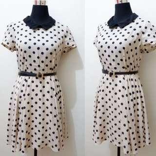 Polka Dots Collar Corporate Formal Dress