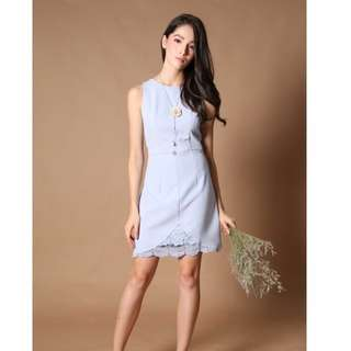 (Instock) TSW Kate Crochet Detail Dress in Powder Blue