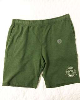 NWT ROOTS Size M Green Sweatpants Shorts