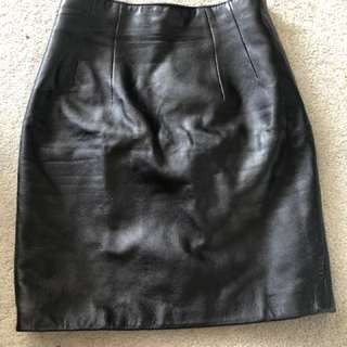 Real leather mini pencil skirt