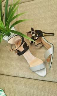 S&H Silver Shoes with Suede Straps