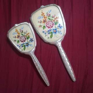 1950's Vanity Set - Hair Brush & Hand Held Mirror