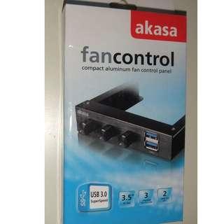 "Akasa AK-FC-06U3BK 3.5"" 3x Channel Fan Controller 2x USB 3.0 Ports"
