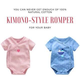 Baby Short Sleeve Romper / Onesies / Top / Kimono / Singlets / Clothes for Baby Infant  and Girls from 0-24 months 100% Natural Cotton