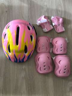 Kids safety Helmet knee elbow guard set pink
