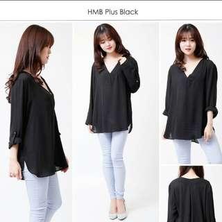 H&M plus black blouse
