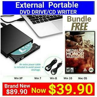 Brand New]  EXTERNAL DVD DRIVE/CD BURNER by VicTsing bundled with PC DVD Game - Medal of Honor warfighter. Usual Price: $ 89.90. Special Price: $39.90 + Free Mail Postage ( Brand New In Box &  Sealed)