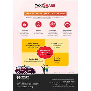 SMRT Taxishare (Full / Part time) welcome Free $25 http://bit.ly/iwant25