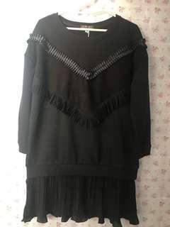 韓國 荷葉邊流蘇款連身裙