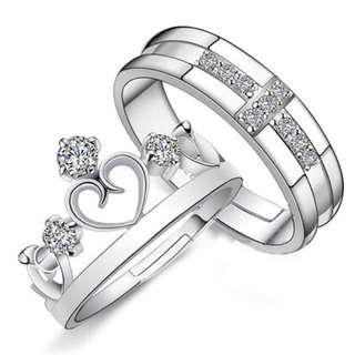 Couple Ring Queen and King Love Couple Ring Metal 92.5 Plated Couple Ring