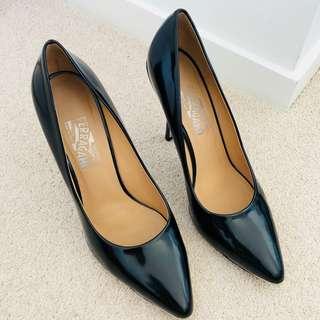 Salvatore Ferragamo Black Patent Leather Pointy Heels Size 9.5