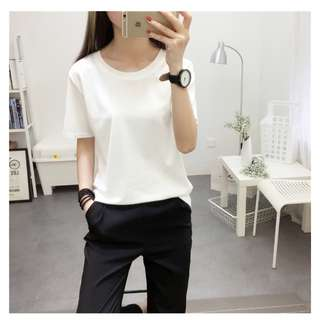 Wild Solid white color round neck T-shirt  (M)