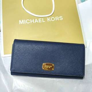 👝全新Michael Kors Leather Wallet Navy Blue