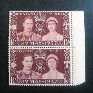 英國 1937年 國王登基 新票無背貼 x 2套