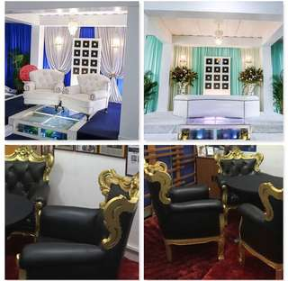 Dias pillars with set of fish tank( not including dais chair) and four nos of black chair