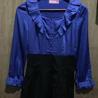 Royal Blue Long sleeve mini dress