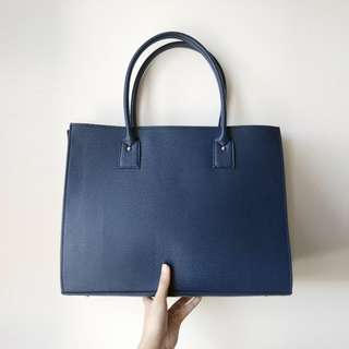Large Navy Blue Faux Leather Tote