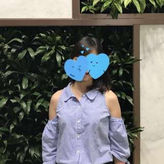 Baju off Shoulder Biru