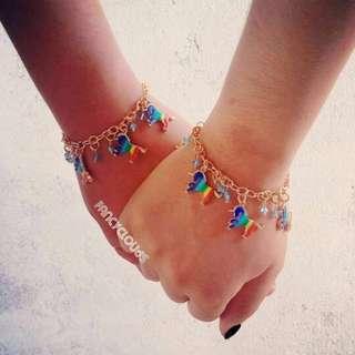 Rainbow Unicorn Gold Charm Bracelet Birthday Present gift for her/girl/friend/friendship