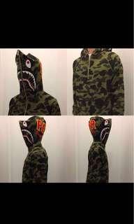 BAPE 1st camo shark half zip pullover hoodie