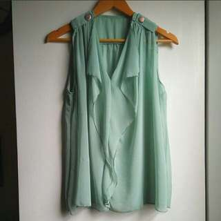 Mint Chiffon Sleeveless Shirt