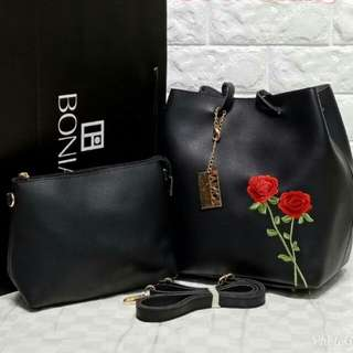 BONIA Flora Bucket Bag 2 in 1 Black Color