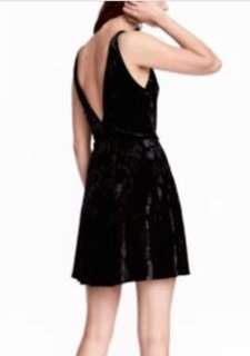 H&M Black Velvet Low V Back Skater Dress
