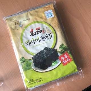 韓國購紫菜即食不易碎(連同包裝袋接出你要的大小才剪開)1包有5大包x