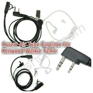 Covert Airtube Earpiece For Kenwood / Baofeng / TSSD / Retevis Walkie talkie. 2 Pin Jack.