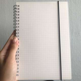 muji inspired grid ring notebook A5 size