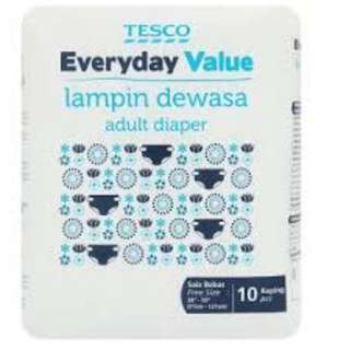 Cheap Tesco Everyday Value adult diapers!