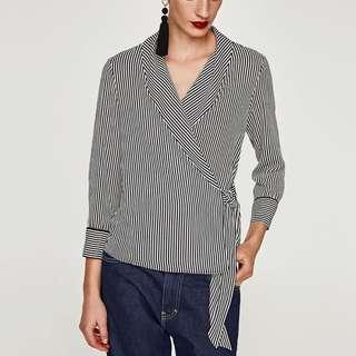 ZARA Striped Wrap Tuxedo Colar Blouse