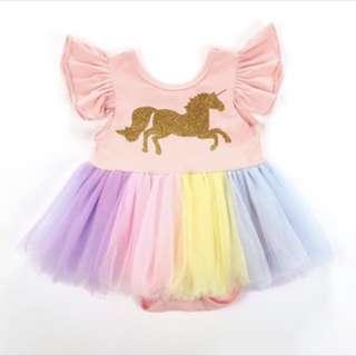 Baby girl unicorn rainbow tutu tulle dress skirt infant newborn toddler