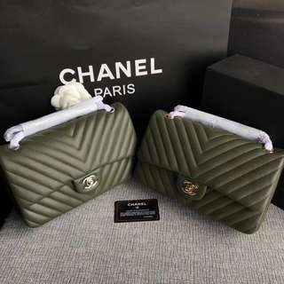 Chanel Chevron Flap Bag Army Green