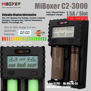 18650, 26650, 2 Slots Battery Charger - MiBoxer C2-3000 1.5A Per Slot Fast Smart Charger With UK Plug
