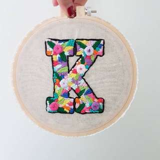 Hand sewn Floral Embroidery letters
