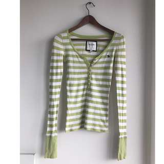 AEO Green Striped Sweater - size small/medium
