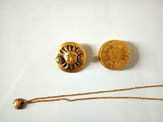 金色太陽圖案3合1首飾(耳環,頸錬,心口針)