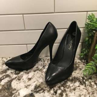 Designer 100% leather heels size 5.5
