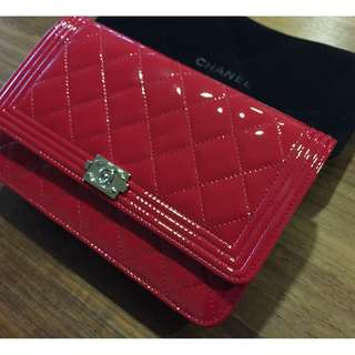 Chanel Red Metallic Patent Boy Wallet On Chain (WOC)