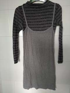 Pseudo 2 Piece Grey Long Sleeve Knitted Top Dress