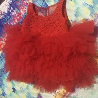 Red Lace and Tulle Dress