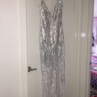 Silver sequin formal dress