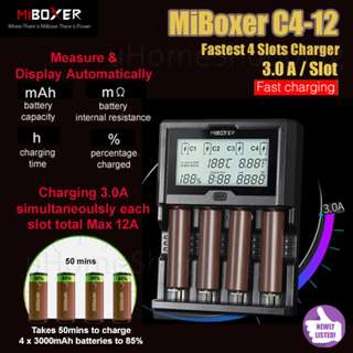18650,  26650, 4 Slots Battery Charger - MiBoxer C4-12 3.0A Per Slot Fast Smart Charger With UK Plug
