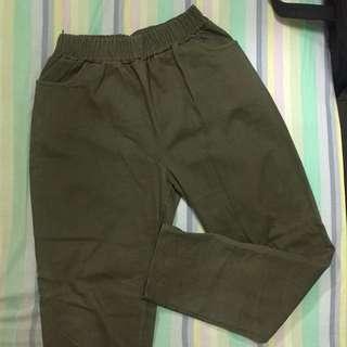 墨綠鬆緊老爺褲