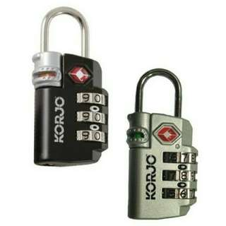 Brand New KORJO TSA Compliant Lock with Indicator (Black or Silver)