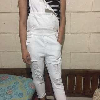 White Tattered Jumper Pants