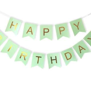 Happy Birthday Bunting in Gold foiled letters with fish-tail cut design 16cm by 12cm